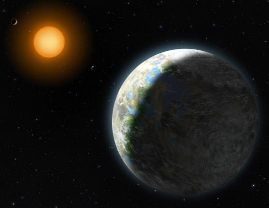 Impressão artística de Gliese 581g. Crédito da Imagem: Lynette Cook/NSF.