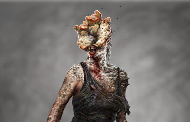 Estaladores; um dos típicos inimigos encontrados durante grande parte do jogo. Nesse caso, o humano apresenta o segundo estágio da infecção pelo Cordyceps. Créditos: Naughty Dog.