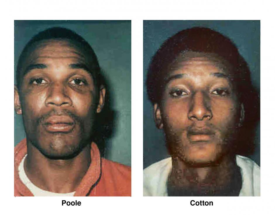 Foto mostrando a semelhança entre Bobby Poole e Ronald Cotton.