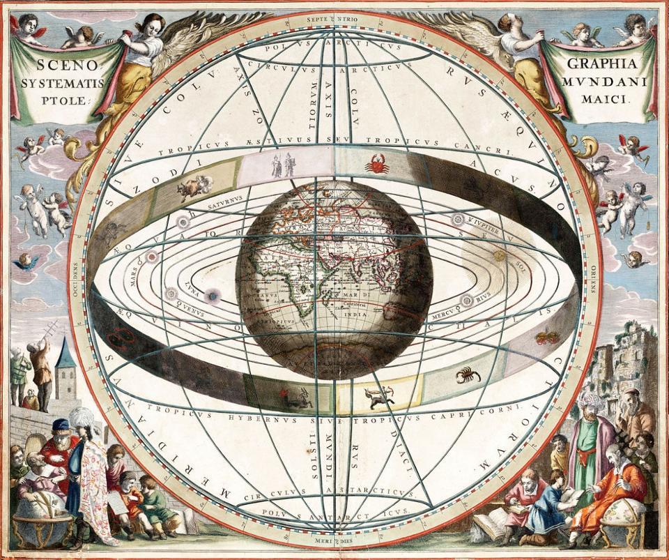 Ilustração que mostra os signos do zodíaco e o sistema solar com o mundo no centro. De Andreas Cellarius Harmonia Macrocosmica, 1660-1661. Créditos da Imagem: Loon, J. van (Johannes), ca. 1611-1686.