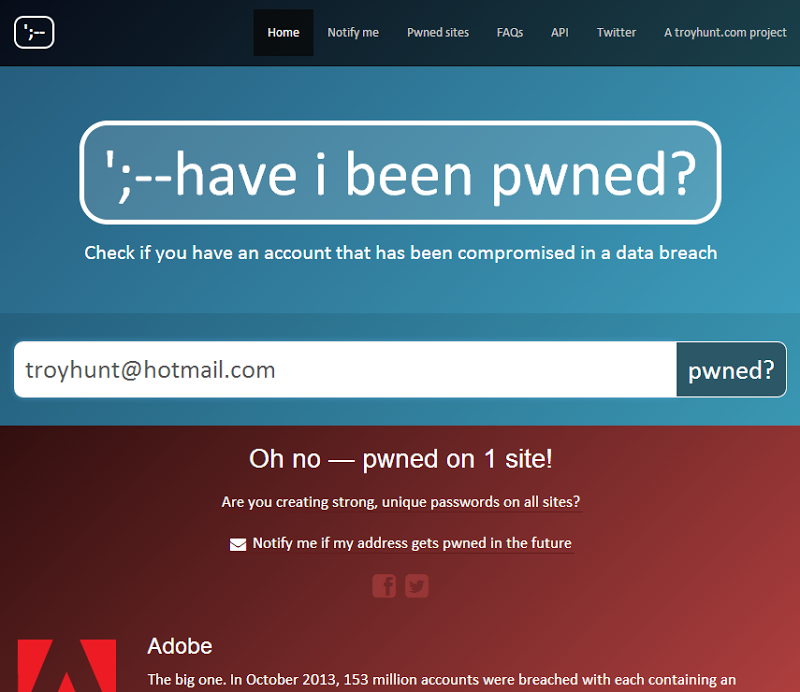 have i been pwned, site